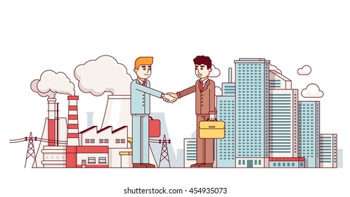 Production business and city partnership. Town and factory supply chain collaboration deal. Energy production plant. Modern flat style thin line vector illustration isolated on white background.
