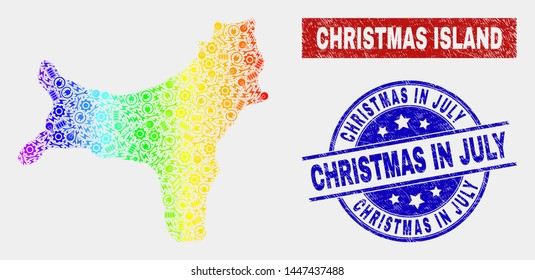 Production Christmas Island map and blue Christmas in July scratched seal stamp. Spectrum gradient vector Christmas Island map mosaic of workshop elements. Blue round Christmas in July seal.