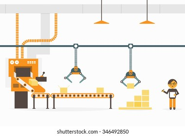 Production concept. Conveyor system in flat design. Factory production-vector illustration.