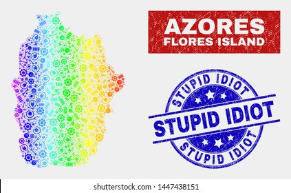 Production Flores Island of Azores map and blue Stupid Idiot textured seal stamp. Spectral gradient vector Flores Island of Azores map mosaic of mechanics items. Blue round Stupid Idiot stamp.