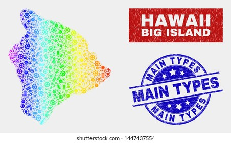 Production Hawaii Big Island map and blue Main Types textured seal. Colorful gradiented vector Hawaii Big Island map mosaic of equipment parts. Blue rounded Main Types seal.