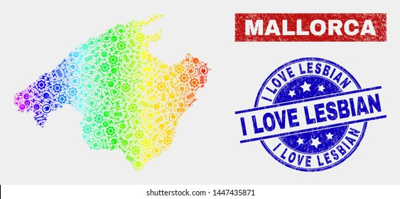 Production Mallorca map and blue I Love Lesbian distress seal stamp. Rainbow colored gradiented vector Mallorca map mosaic of mechanics elements. Blue round I Love Lesbian seal.