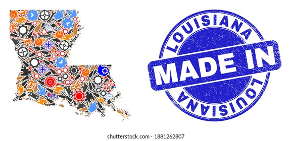Production mosaic Louisiana State map and MADE IN distress watermark. Louisiana State map mosaic composed with spanners, gearwheels,screwdrivers,elements,transports,electricity strikes,details.