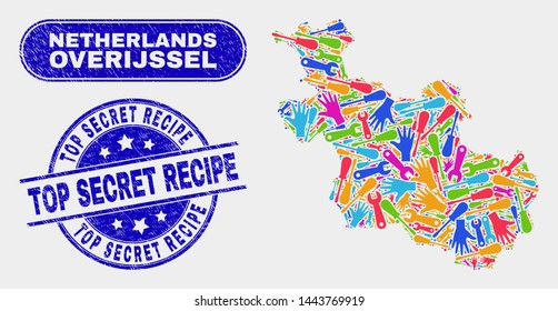 Production Overijssel Province map and blue Top Secret Recipe textured watermark. Bright vector Overijssel Province map mosaic of production components. Blue rounded Top Secret Recipe stamp.