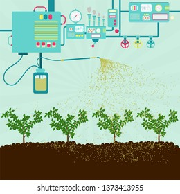 Production of pesticides for agriculture. Industrial machine producing pesticides and spraying on a plantation. Contamination of soil by pesticides.