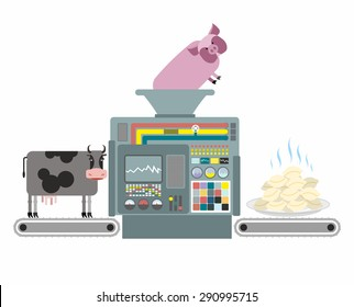 Production of pork and beef dumplings. Russian national apparatus for cooking dumplings. Automated system of manufacture of meat food. Vector illustration