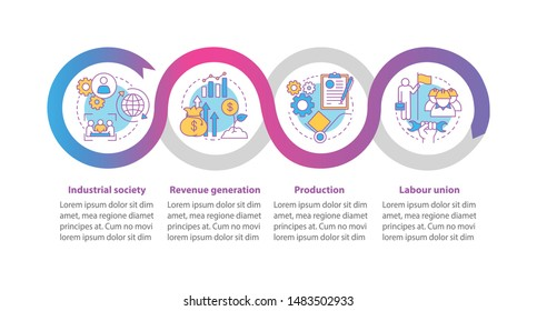 Production process vector infographic template. Business presentation design elements. Data visualization with four steps and options. Process timeline chart. Workflow layout with linear icons