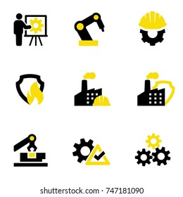 Production, protection and safety of machines and processes in in production areas. Industrial icons set. Simple isolated illustrations