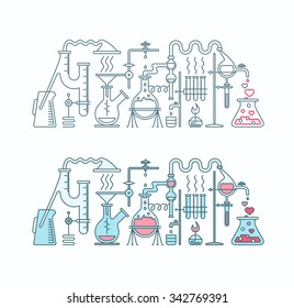 Production of romance elixir in laboratory illustration. Chemistry of love two isolated flat and line objects.