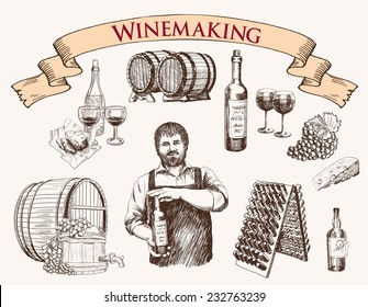 the production of sparkling wines. set of vector sketches