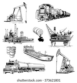 Production and transportation of petroleum products. Hand drawn vector illustration