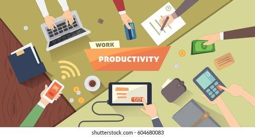 Productive office workplace. Productivity business strategy flat illustration.