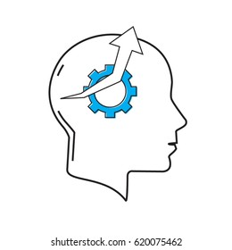 Productive thinking. Gear with arrow pointing upward inside human head - concept for productivity