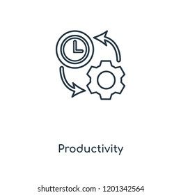 Productivity concept line icon. Linear Productivity concept outline symbol design. This simple element illustration can be used for web and mobile UI/UX.