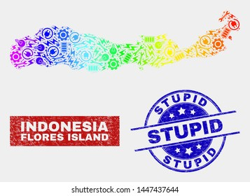 Productivity Flores Island of Indonesia map and blue Stupid scratched stamp. Rainbow colored gradient vector Flores Island of Indonesia map mosaic of productivity elements. Blue rounded Stupid stamp.