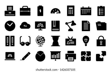 productivity glyph icon symbol set