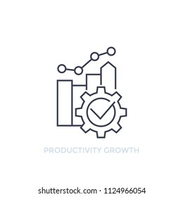 productivity growth vector line icon