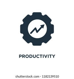 Productivity icon. Black filled vector illustration. Productivity symbol on white background. Can be used in web and mobile.