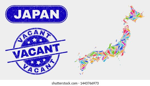 Productivity Japan map and blue Vacant scratched stamp. Colorful vector Japan map mosaic of productivity elements. Blue rounded Vacant imprint.