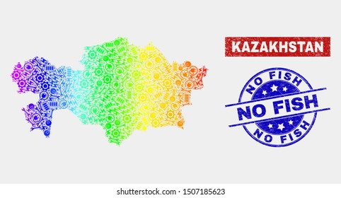 Productivity Kazakhstan map and blue No Fish textured seal. Spectral gradient vector Kazakhstan map mosaic of productivity components. Blue rounded No Fish imprint.