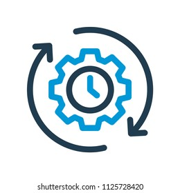 Productivity line icon. Isolated efficiency icon with cogwheel in line style. Vector illustration.