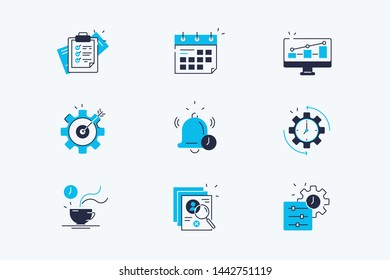 Productivity line icons set vector illustration. Collection consist of work planning, target, efficiency growth, time management and personal tracking tools flat concept. Isolated on white