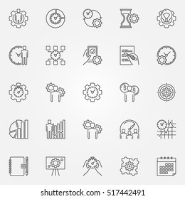 Productivity line icons set. Vector time management concept symbols in thin line style