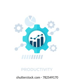 productivity, productive capacity, performance analytics vector illustration