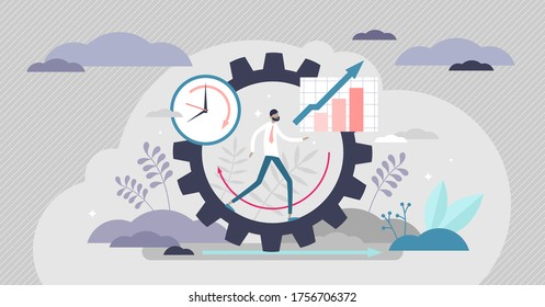 Productivity vector illustration. Job performance flat tiny persons concept. Efficient time and task management strategy for business growth progress and development. Dynamic work success elements.