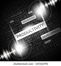 PRODUCTIVITY. Word cloud illustration. Tag cloud concept collage. Vector illustration.