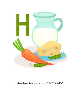 Products containing vitamin H biotin . Green peas, carrot, fresh cheese and jug of milk. Flat vector for poster about nutrition
