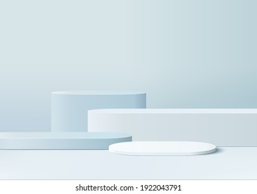 products display 3d background podium scene with shape geometric platform. background vector 3d rendering with podium. display to show cosmetic products. Stage showcase on pedestal display blue studio