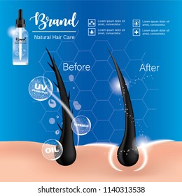 Products for hair care and Split hair, cosmetic concept