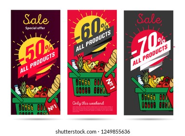 Products leaflets set with food basket and sale promotion with per cent discounts