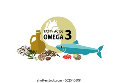 b3a39a4e290 Products with the maximum content of Omega 3. Fundamentals of healthy  eating. White background