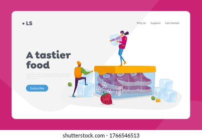 Products Refrigeration, Food, Fresh Berries, Vegetables Landing Page Template. Tiny Characters with Ice Cubes in Winter Clothing on Huge Container with Frozen Meat. Cartoon People Vector Illustration