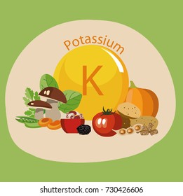 Products rich with potassium. Bases of healthy food. Composition from natural organic products and the sign of potassium on a color background. Healthy lifestyle