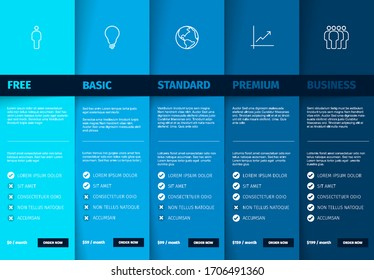 Products service feature compare list table template with various options, description, features and prices - deep blue color version