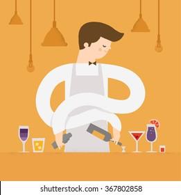 Profession - Bartender at the cafe makes cocktails. Vector illustration
