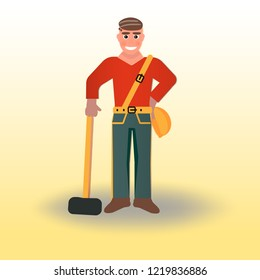 Profession: builder. Young healthy guy. Man with a sledgehammer. Young man in red uniform.
