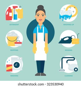 Profession: Cleaner. Vector illustration, flat style
