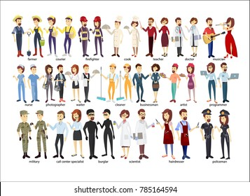 Profession couple set. Police and firefighters, businessmen and doctors.