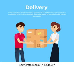 Profession delivery of goods isolated design. Courier service, fast person parcel, express postman. Man gives box a woman. Vector illustration