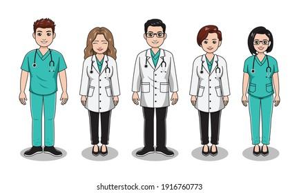 profession doctor and nurses cartoon illustration