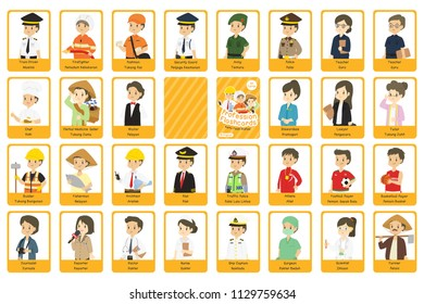 Profession flashcards vector design. Indonesian workers uniform,  printable profession bilingual flashcard, English Indonesian language, cartoon vector.
