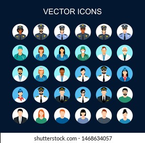 Profession icon set. Avatars profession people: cop, pilot, stewardess, doctor,  nurse, office workers. Face men and women uniform. vector icons