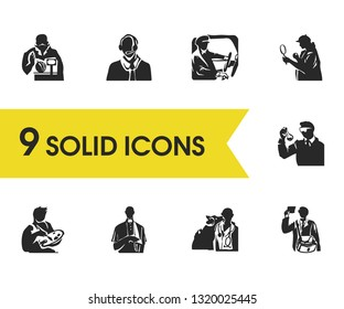 Profession icons set with operator, detective and priest elements. Set of profession icons and scientist concept. Editable vector elements for logo app UI design.