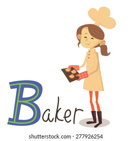 Profession/ job/ occupation Baker - alphabet for kids in vector