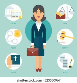 Profession: Lawyer. Vector illustration, flat style