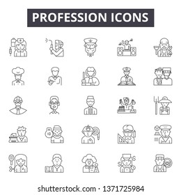 Profession line icons, signs set, vector. Profession outline concept, illustration: profession,doctor,job,worker,business,man,people,person - Shutterstock ID 1371725984